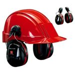 3M PELTOR™ Optime™ III Ear Muffs, 34 dB, Black/Red, Helmet Mounted